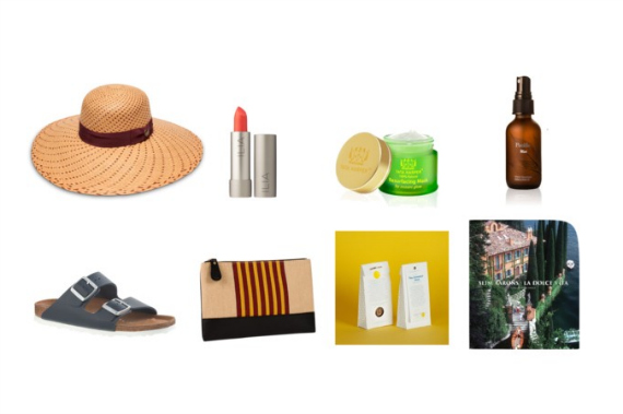 Top: Straw Hats ( Goorin Bros ), Orange/Coral lip shades ( Ilia ), T ata Harper's Resurfacing Mask in the Apricot limited edition ,  Marie Veronique Organics Pacific Mist . Bottom: Birkenstocks, Clutches ( Chief Trunk ), Iced Mint Tea made with  Daphnis and Chloe's Sweetest Mint ,  La Dolce Vita by Slim Aarons .