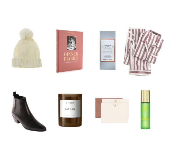 Wool hats with pompoms ,  Dinner Diaries by Daniel Cappello ,  J  asmin and Orange Flower Tea by Dean and De Luca  ,   Old fashioned pajamas by J Crew ,  Chelsea boots by Saint Laurent ,  Safran candle by Byredo ,  Nautical golden embossed stationary set by Terrapin Stationers ,  Moisturizing Mask by Tata Harper .