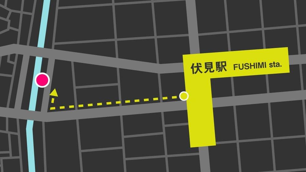 1 地下鉄伏見駅 8番出口を出てまっすぐ進みます  2 「納屋橋東」交差点を右折して進みます  3 左手に見える濃い灰色のビルの6Fがsharebase.InCです  (上部に「AMITIE 1st BLD」と書かれた入り口からエレベーターで上がります)