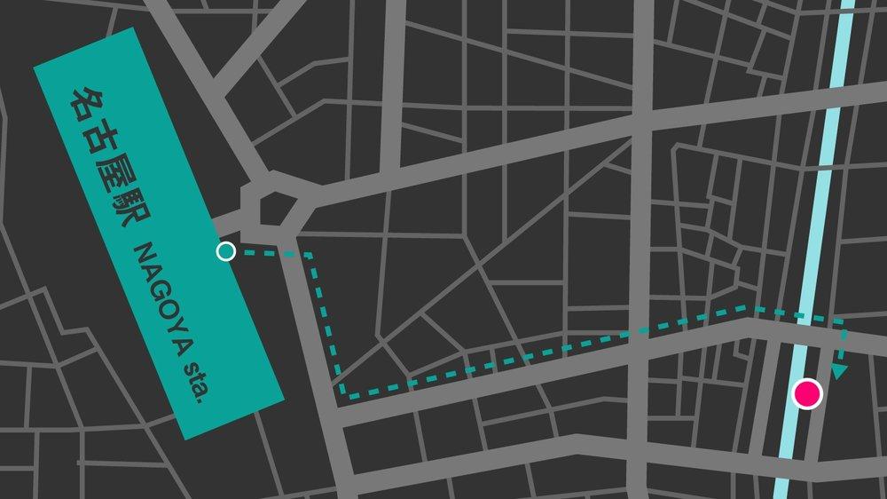 1 JR名古屋駅 桜通口から出て右に進みます  2 スパイラルタワーズ(うねっているビル)の手前で左折して進みます  3 橋を越えたところで右に進むと見える濃い灰色のビルの6Fがsharebase.InCです  (上部に「AMITIE 1st BLD」と書かれた入り口からエレベーターで上がります)