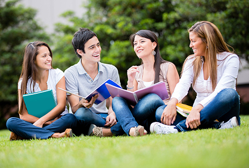 uniClever e.V. Potsdam Freizeit_Gruppe von Studenten auf wiese_lachen, lernen