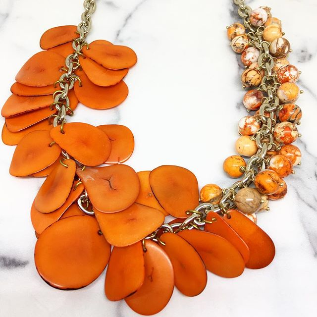 Orangina statement necklace by Very Valero now available on #etsy  #statementnecklace #orange #tagua #resortlook #beachlife #summer #yyz #colorful #colourobsessed #colourpop #pursuepretty #collargram #statementnecklace #instalike #instalove