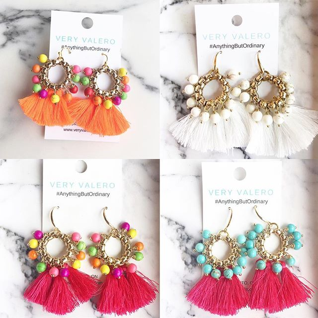 Some serious summer vibes available @gussiedupplus  #veryvalero #summervibes #gussiedupplus #tasselearrings #tassles #handcrafted #jewelry #jewelrydesigner #toronto #torontolife #the6 #bathurst #boutique #colourobssessed #pursuepretty #anythingbutordinary