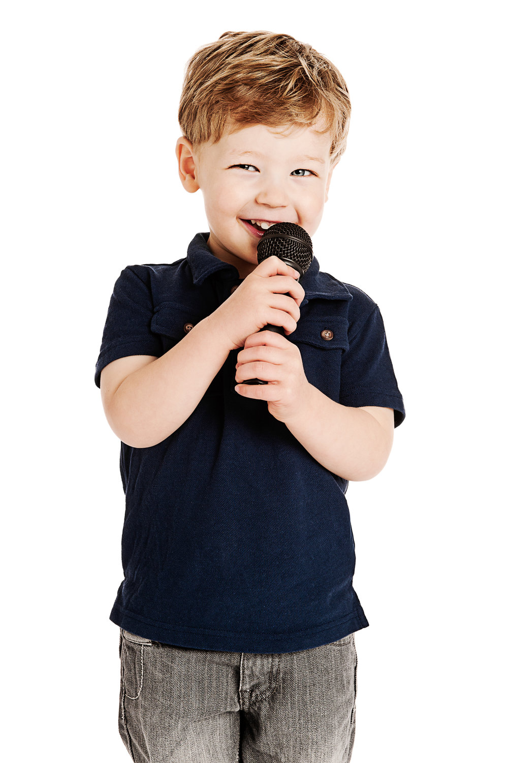 Cute boy singing