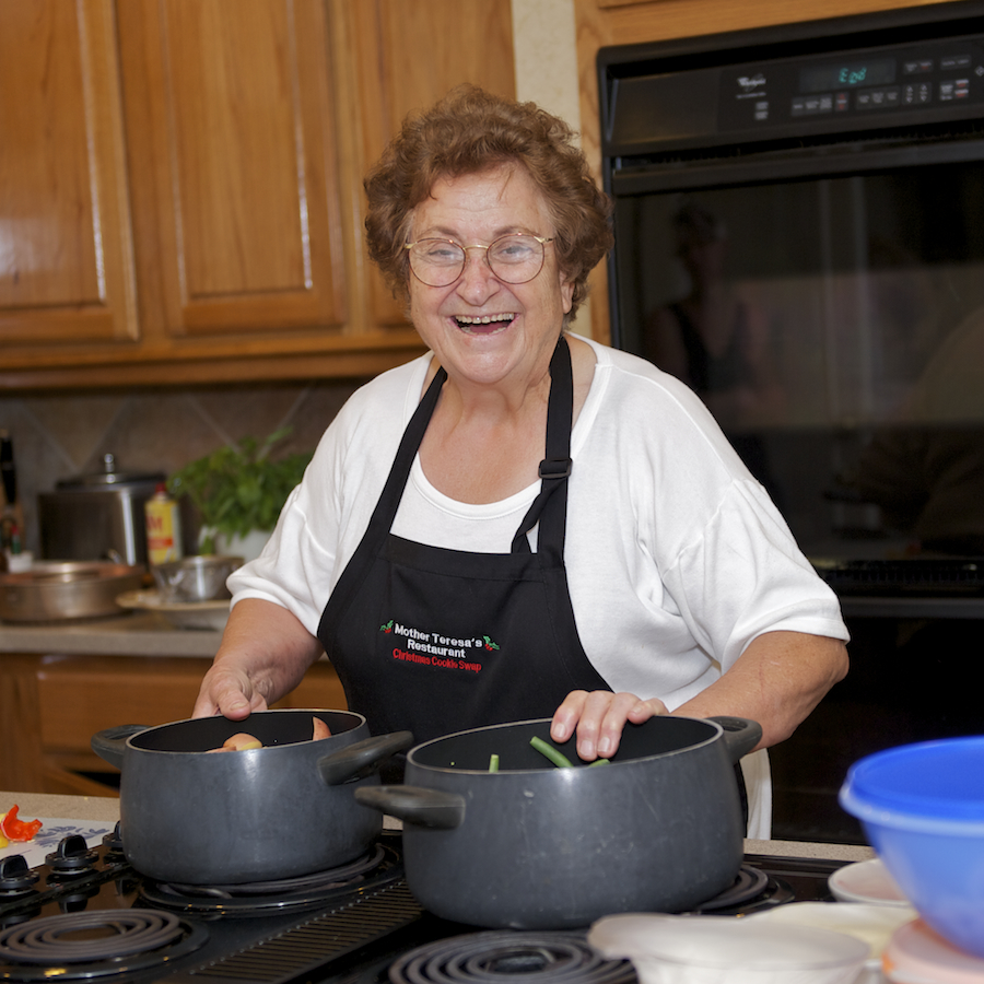 Mother Teresa Having a Fantastic time Cooking at here classes
