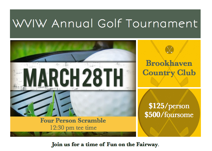 WVIW ANNUAL GOLF TOURNAMENT MARCH 28TH 2013      On  March 28th , we are hosting our 11th Annual Worldwide Voice in the Wilderness Charity Golf Tournament. It will be held at the    Brookhaven Country Club     3333 Golfing Green Dr, Farmers Branch, TX 75234
