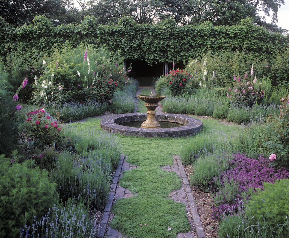 sussex,cullem,tyme path, fountain, lavendar.jpg