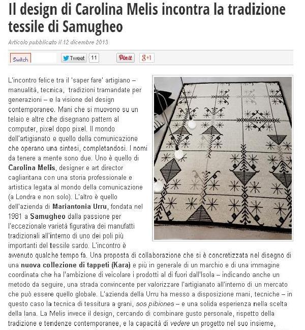Il design di Carolina Melis incontra la tradizione tessile di Samugheo