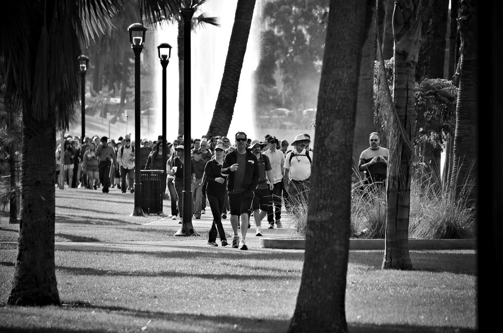 Morning start line at Echo Park Lake