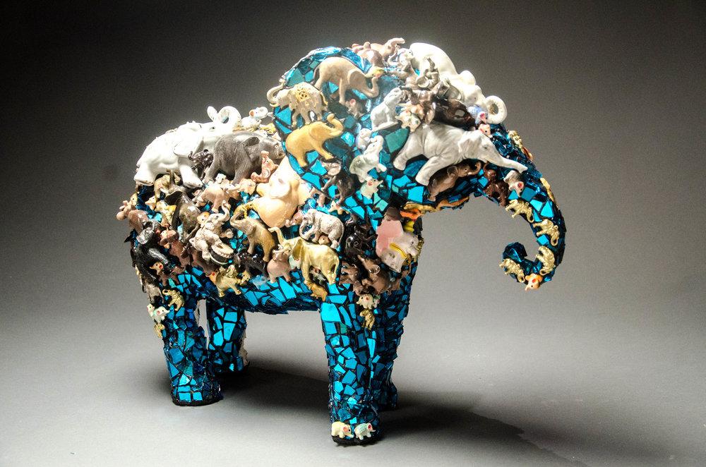 "Blue Elephant 18""x25""x9"""