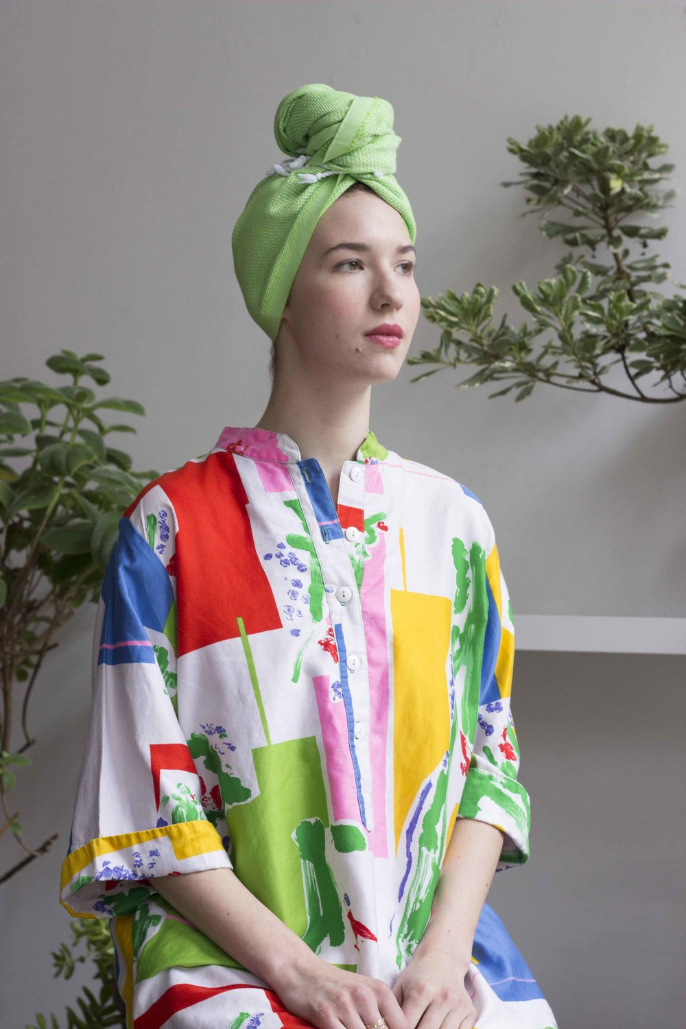 Wayward Collection vintage Graphic tunic with Cuttalossa bright green hair towel