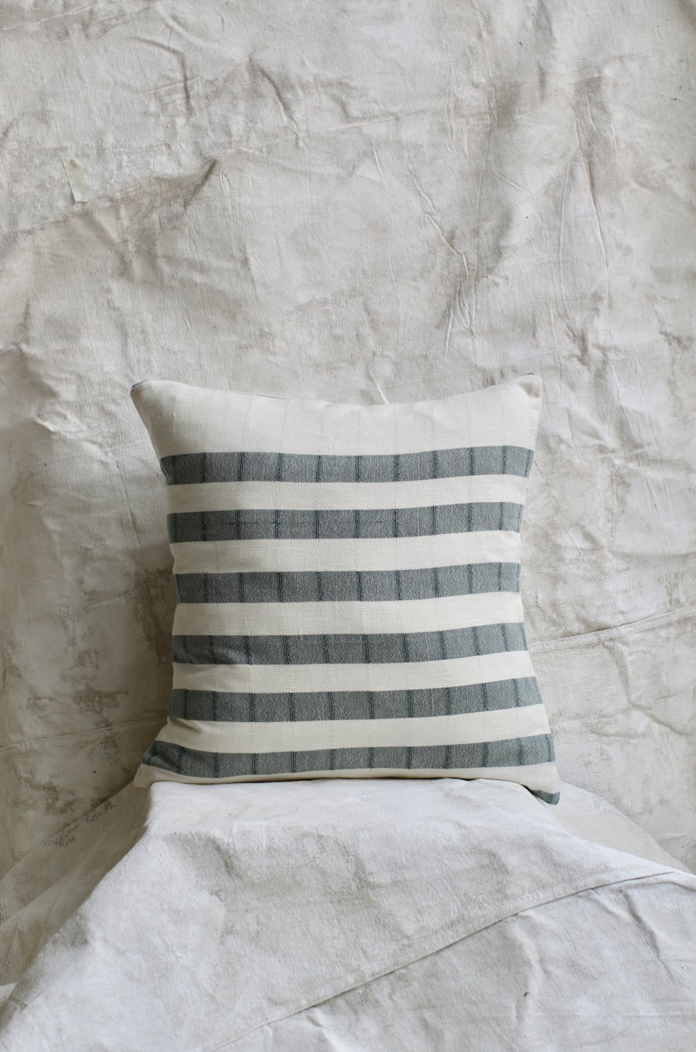 Cotton Stripped Pillow - Hunter Green $54-$34
