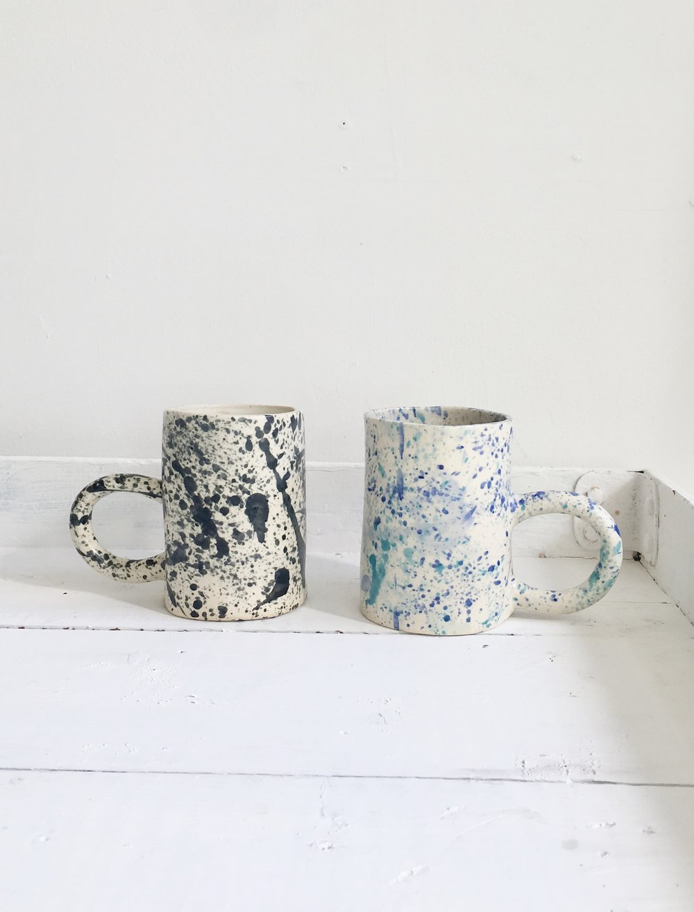 Splatter Mugs by Curious Clay $45