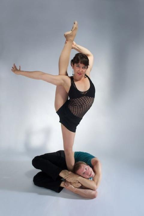 photo by Bill Evans – Contortionists Lance Centanni-Sachs and Samantha Halas