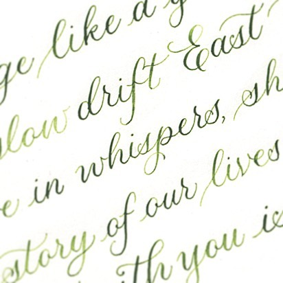 Working in a soft formal style for my latest commission. I love the texture writing in watercolour gives 💚 . . . #moderncalligraphy #calligraphy #copperplate #watercolour #lettering #handwritten #handwriting #handlettering #greenink #green #typography #typographyinspiration #typographyinspired #poem #poetry
