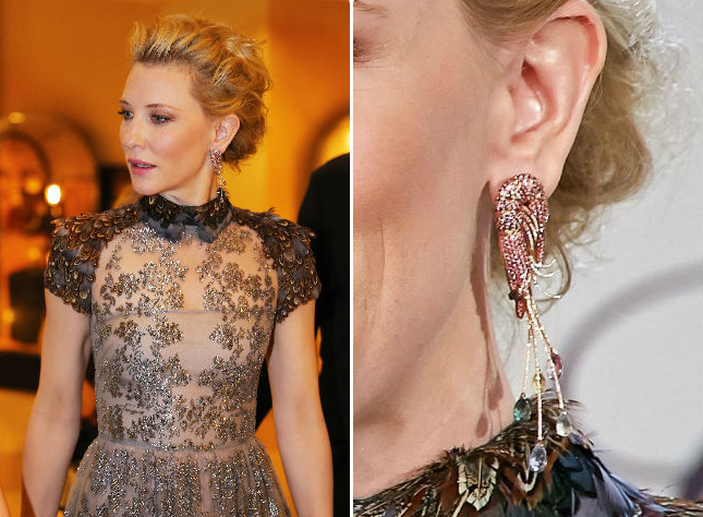 Cate Blanchett championed shellfish, as she wore shrimp earrings from Chopard's Animal World collection.