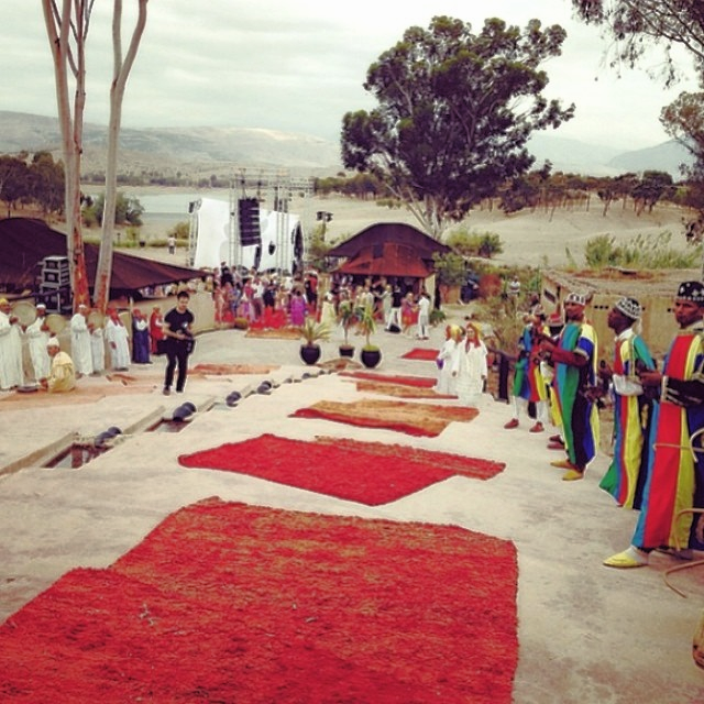 Walking down the Moroccan red carpet.