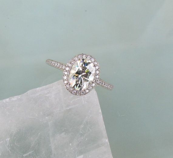 Moissanite Engagement Ring in 14k Gold Diamond Halo 8x6 Oval Moissanite.