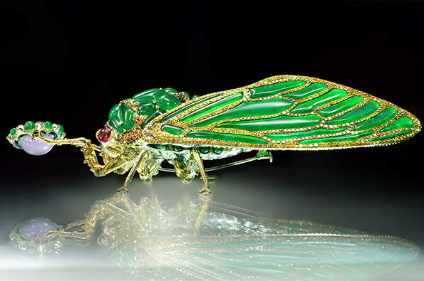 "Wallace Chan ""Stilled Life"" brooch: cicada in jadeite."