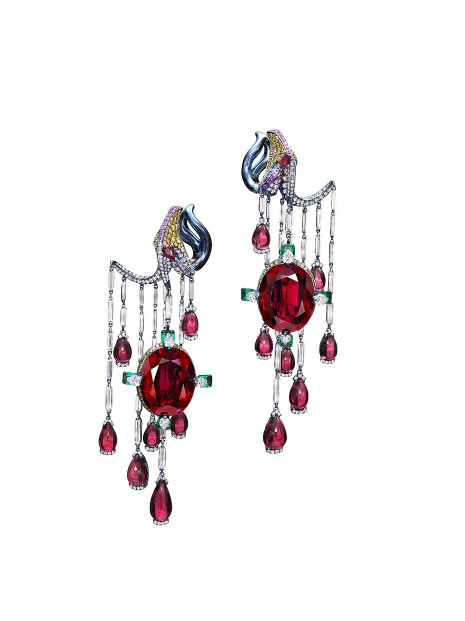 Wallace Chan Vermillion Veil earrings set with two rubellites weighing 20.96ct and 20.03ct, diamonds, emeralds, rubies and yellow diamonds.