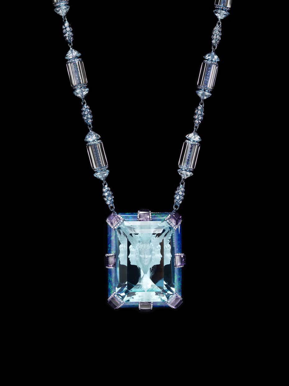 Wallace Chan Now and Always necklace featuring a signature 35.4ct Wallace Cut aquamarine, amethysts, diamonds, blue topaz, sapphires and opals.