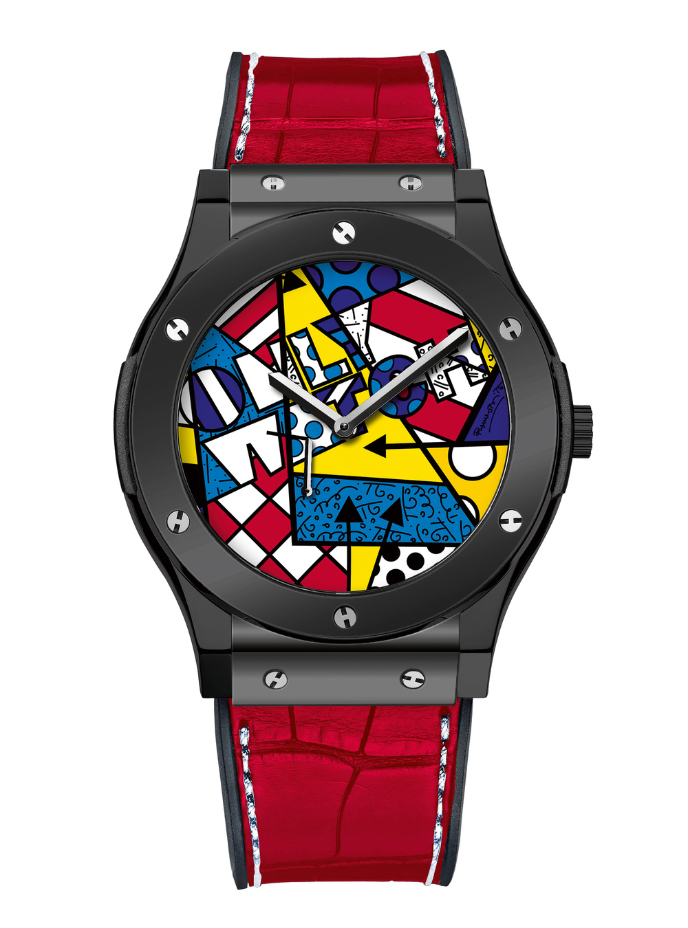 The Hublot Classic Fusion Only Watch Britto, featuring a colourful Grand Feu dial.