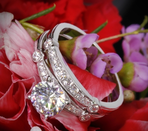 18k White Gold Simon G MR1546-D Delicate Diamond Wedding Set