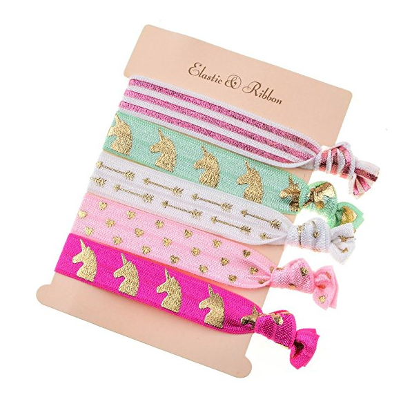 2. DDazzling Girls Unicorn Hair Ties Elastic Hair Ties - $6.99