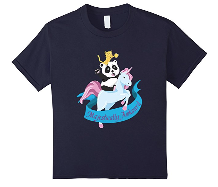 21. Majestically Awkward Cat Riding Panda Tee - $18.99