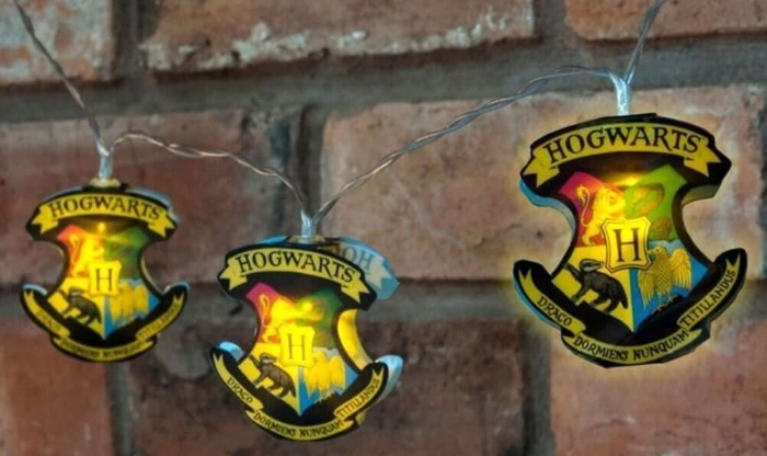 10. Official Harry Potter Hogwarts Crest 2D 12 LED String Lights - $14.24