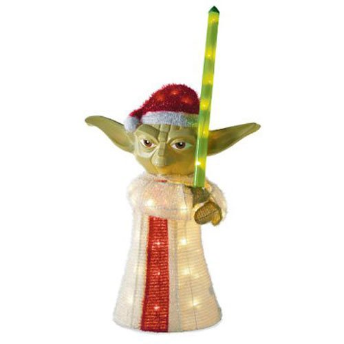 15. 50-Light 28-Inch 3D Tinsel Yoda Lawn Decor - $59.76