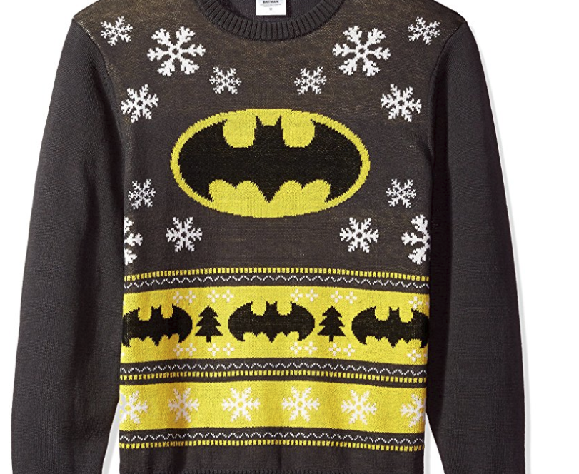 10. DC Comics Batman Bat Signal Ugly Christmas Sweater - $20.99
