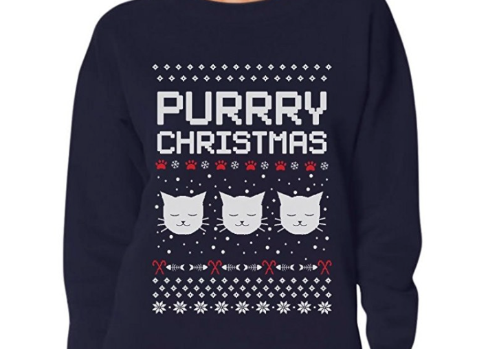 11. Purrry Christmas Ugly Sweater - $12.95