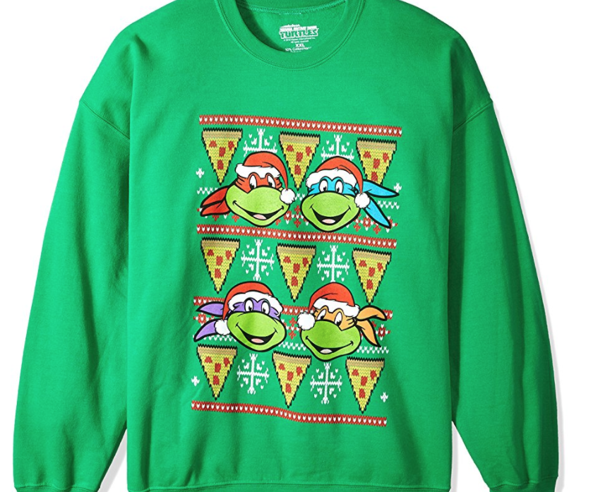 18. Nickelodeon TMNT Pizza Ugly Christmas Sweatshirt - $39.99