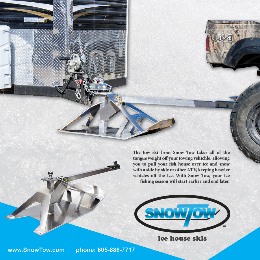 Hard water ice fishing expo snow tow ice house skis for Fish house skis