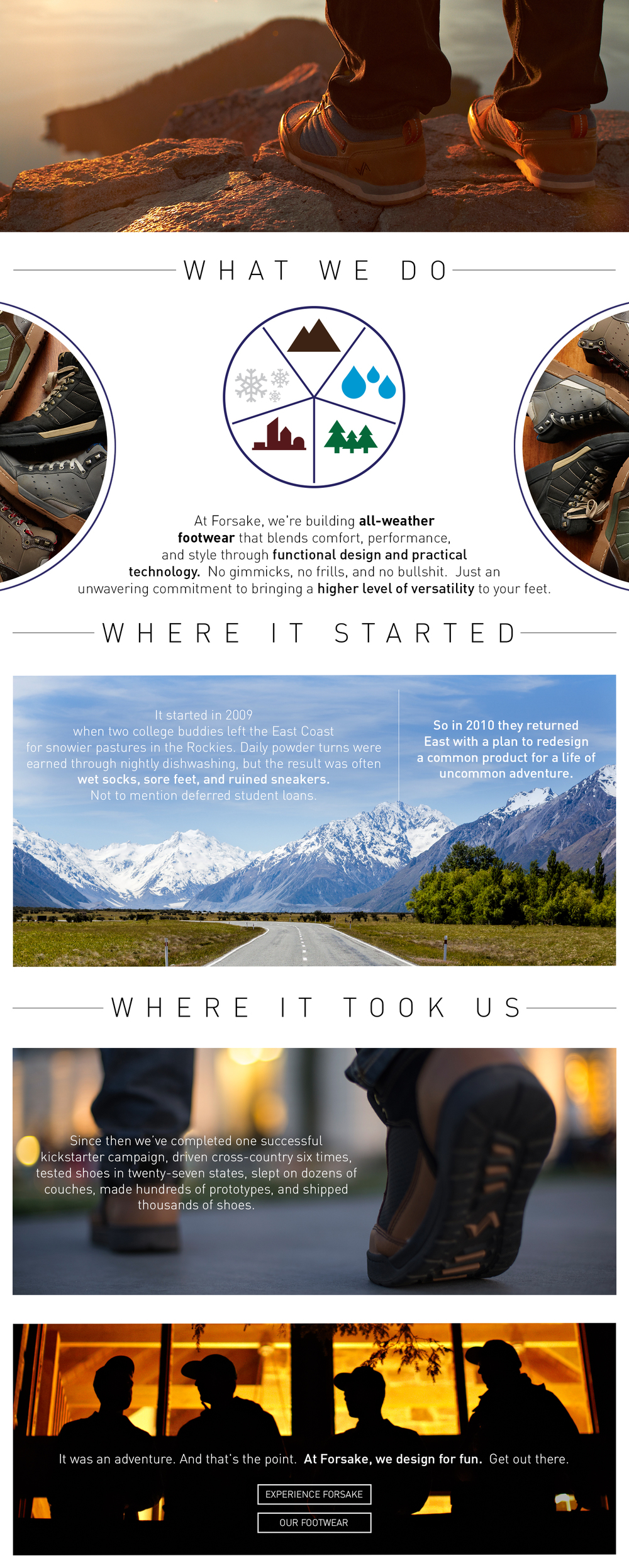 Forsake Co is a new start-up shoe company out of Boston, Massachusetts.  The story of how they came to be is a very important part of the culture of their brand.  They came to me to design an experience section of their website that would tell the tale in a beautiful and informative way.  www.forsake.com/story/