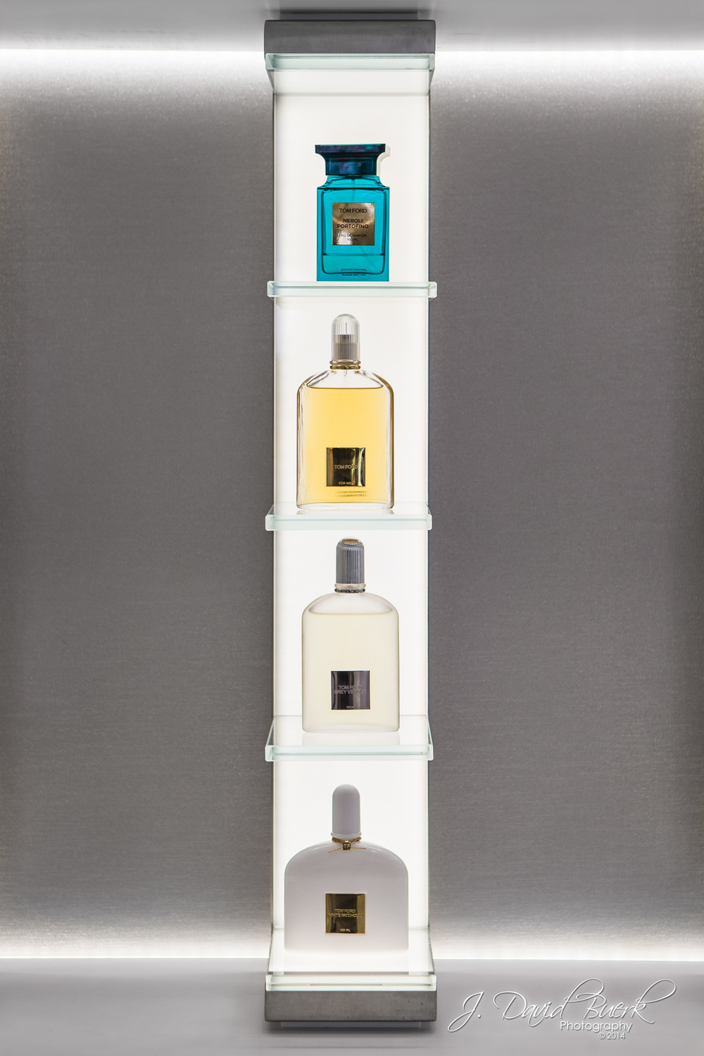 Various perfumes inside Washington Dulles International Airport's Esteé Lauder.