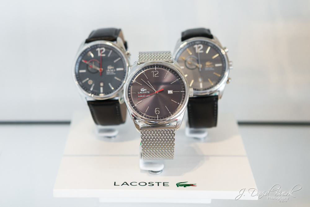 Men's watches inside Ronald Reagan National Airport's Lacoste.