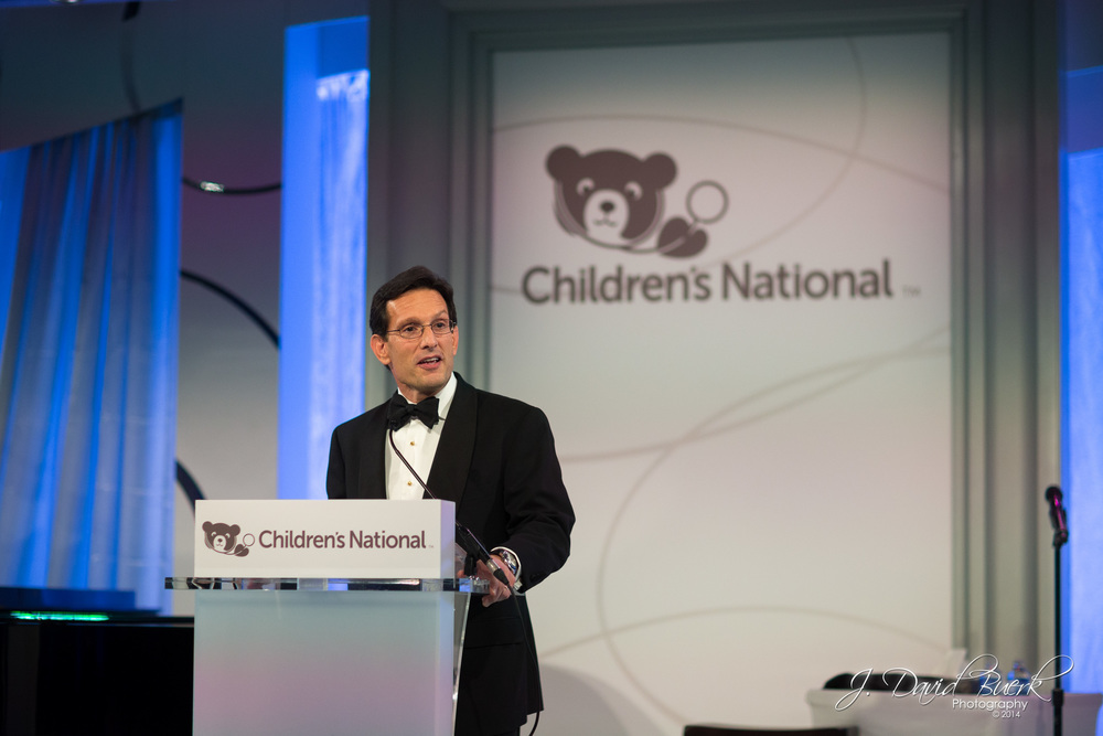 House Majority Leader, Eric Cantor (R) addresses attendees at Children's National 'Dream a little Dream' fundraiser Ball.  The event would go on to raise $10.7 million for the Children's National hospital system.