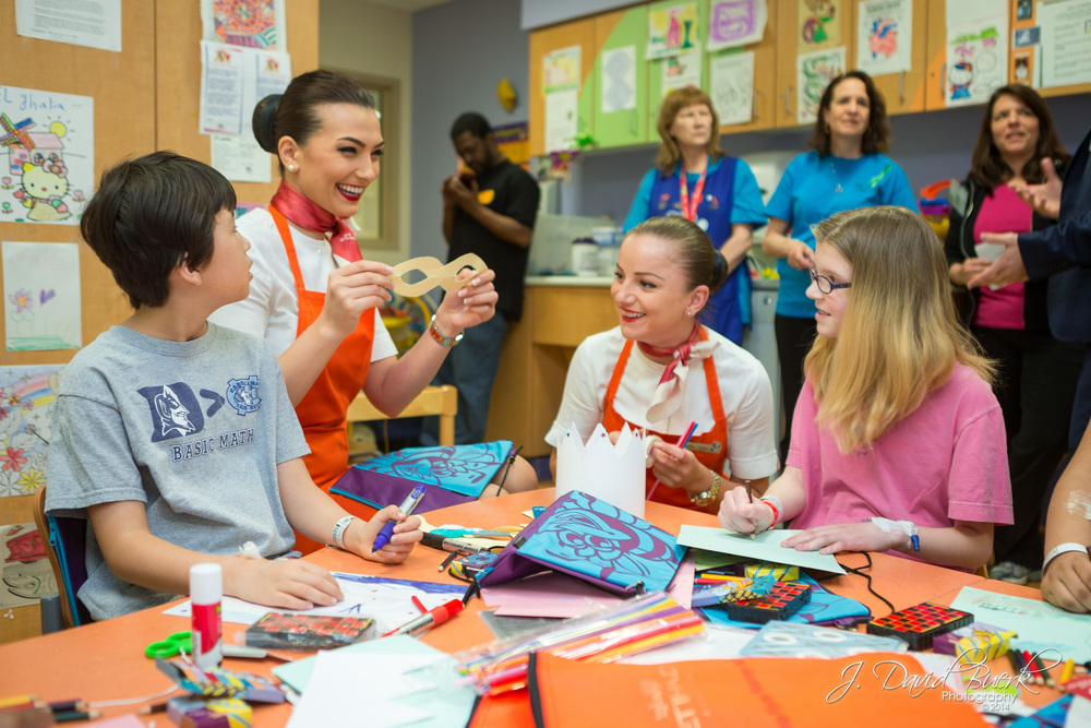 Etihad Airways Flying Nannies visit children at Children's National Medical Center in Washington, DC.