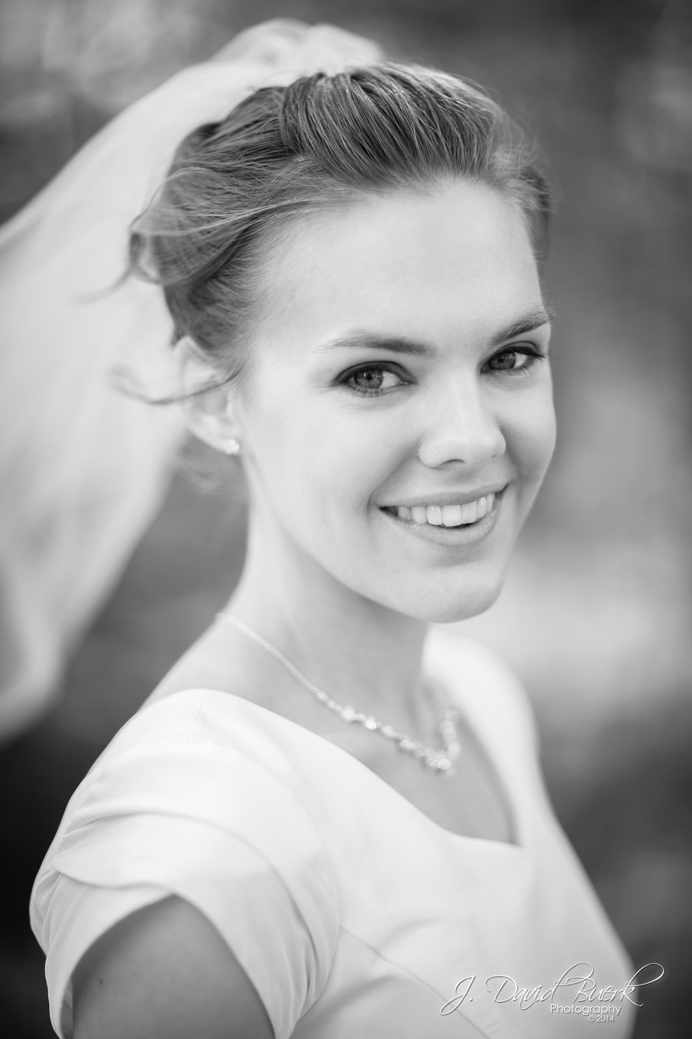 A bride smiles just before her wedding at the Washington, DC LDS Temple.