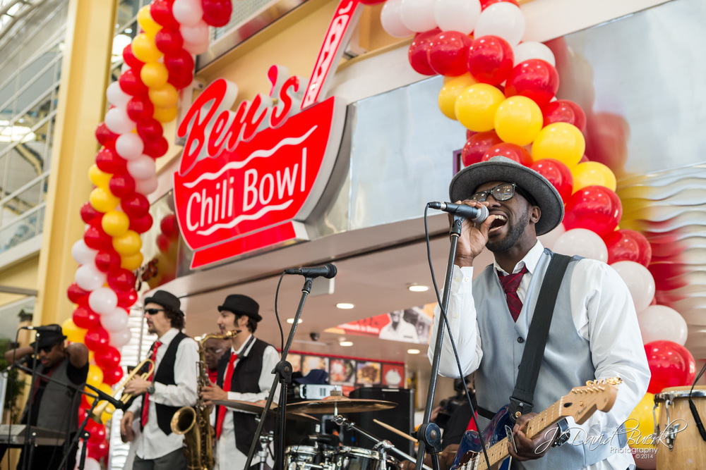 The Chuck Brown Band performs at the Grand Opening of Ben's Chili Bowl at Ronald Reagan National Airport.