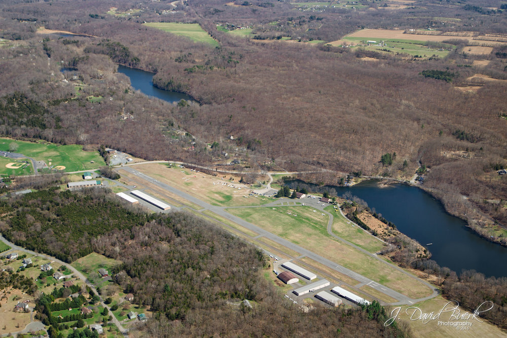 Aerial view of Blairstown Airport (1N7) from 1,000ft.  The small public use airport in New Jersey is home to Jersey Ridge Soaring, a glider service and school.