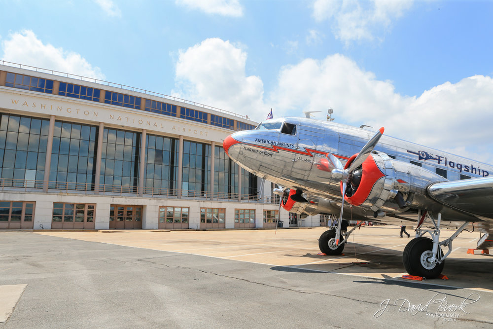 An American Airlines Douglas DC-3 parked outside the original terminal building at Ronald Reagan Washington National Airport, formerly known as Washington National Airport.  The aircraft was on site to commemorate the airport's 75th anniversary, after opening it's doors on June 16th, 1941.