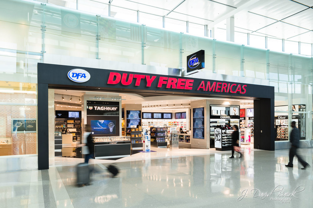 Exterior promotional photo of Duty Free Americas after renovation at Washington Dulles International Airport.  Much of my work, many of which goes undisplayed on my website, is photographing commercial marketing imagery of concessions and products for the DC area's two airports.