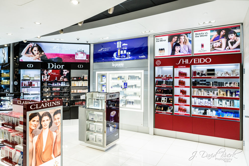 Interior promotional photo of Duty Free Americas after renovation at Washington Dulles International Airport.  Much of my work, many of which goes undisplayed on my website, is photographing commercial marketing imagery of concessions and products for the DC area's two airports.