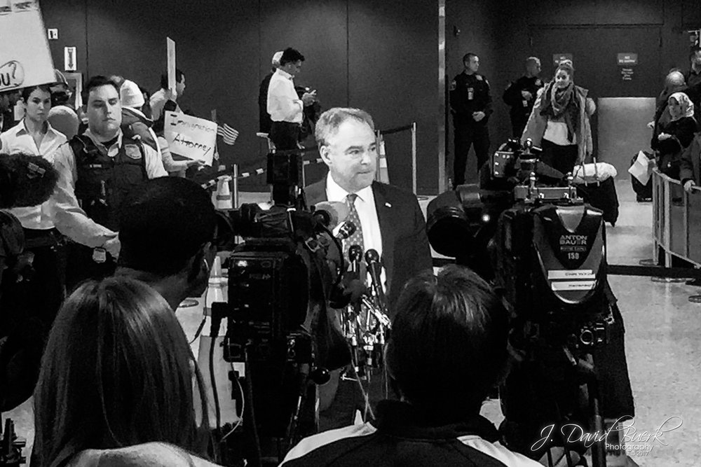 Virginia Senator Tim Kaine (D) addresses media to discus legal action the Commonwealth of Virginia is taking in opposition to the travel ban.