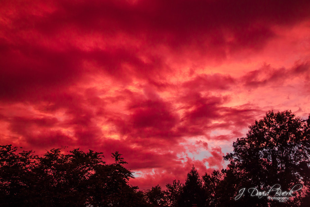 A blood red sky at sunset in Fairfax County, Virginia.