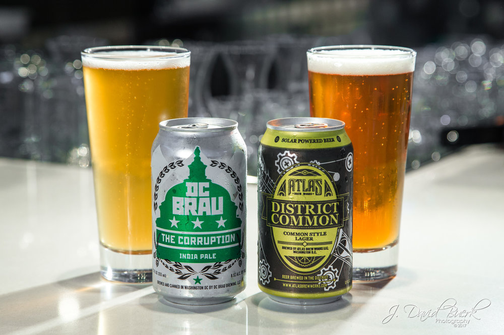 Local DC Brau and Atlas District Common beers on display for sale at Ronald Reagan National Airport.