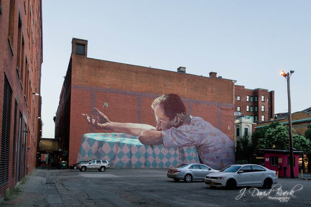 """She Never Came"" by Bezt from Etam Cru and Natalia Rak; a mural in downtown Providence, Rhode Island."